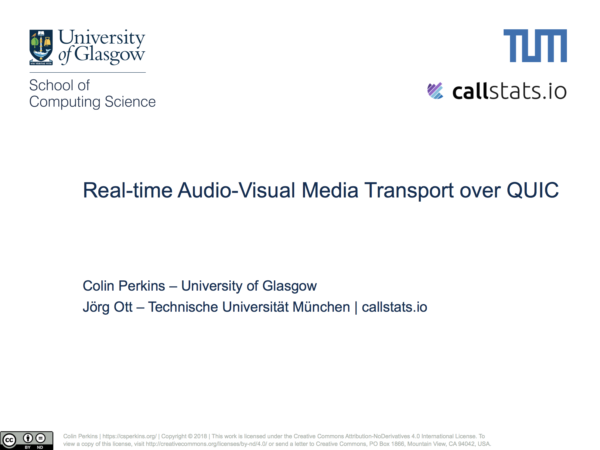 Presentation on Real-time Audio-Visual Media Transport over QUIC